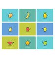 set of fruit icons cute cartoon food characters vector image vector image