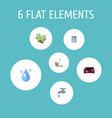 set of hygiene icons flat style symbols with vector image vector image