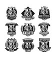 set of monochrome logos emblems knight in helmet vector image vector image