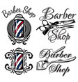 set of retro barber shop logo isolated vector image