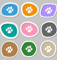 trace dogs icon symbols Multicolored paper vector image