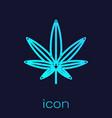 turquoise line medical marijuana or cannabis leaf vector image vector image