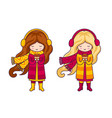 two cute little girls wearing coats and big vector image