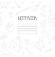 Back to school monochrome doodle notebook design vector image