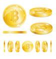 realistic detailed 3d golden bitcoins set vector image