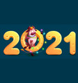2021 is year bull in chinese calendar funny vector image vector image