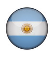 argentina flag in glossy round button of icon vector image