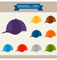 Baseball caps colored templates for your design in vector image vector image