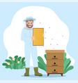 beekeeper collect honey unload honeycomb in frame vector image vector image