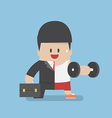 Businessman between work mode and exercise vector image vector image