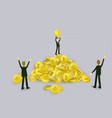 businessman with cup standing on pile of bitcoins vector image