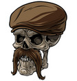 cartoon human skull in peaked cap with mustache vector image vector image