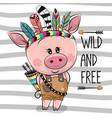 cartoon pig with feathers on a stripes background vector image vector image