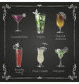 Chalk drawings cocktail menu vector image vector image