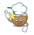 chef cocktail coconut character cartoon vector image vector image