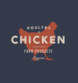 chicken poultry poster for butchery meat shop vector image