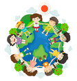 children holding hands around earth vector image vector image