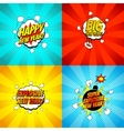 Collection of comic happy new year banners vector image