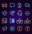 contact neon icons vector image