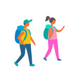 couple man and woman with backpacks isolated vector image vector image