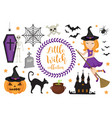 cute little witch halloween set objects vector image