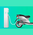 electric scooter charging at charge station vector image vector image