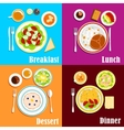 European breakfast dinner and lunch vector image vector image