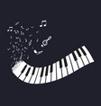 flat abstract piano keyboard with notes on black vector image vector image