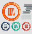 folder icon on the red blue green orange buttons vector image vector image