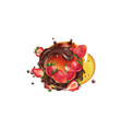 fresh mango with strawberries and splashes of vector image vector image