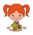 girl with carrot and broccoli vector image