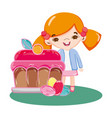 girl with sweet cake dessert and candies vector image