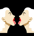 hand drawn girls with open mouth vector image