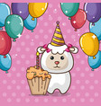 happy birthday card with cute sheep vector image vector image
