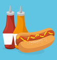 hot dog with sauces bottles fast food menu vector image vector image