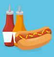 hot dog with sauces bottles fast food menu vector image