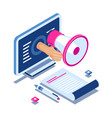 internet promotion isometric concept hand with vector image vector image