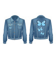 jacket made denim patch vector image vector image