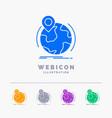 location globe worldwide pin marker 5 color glyph vector image