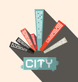 Long Shadow Flat Design City vector image vector image