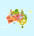 map australia with animals symbols vector image vector image