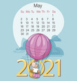 may 2021 bullish calendar funny calf vector image vector image