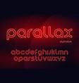 parallax linear neon typefaces alphabet vector image vector image