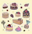 patches with different types of cakes and sweets vector image