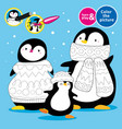 penguin family in knitted scarves and hats learn vector image