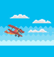 red combat aircraft while flying among clouds vector image vector image
