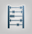 retro abacus sign blue icon with outline vector image vector image