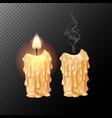 set high detailed burning candles vector image