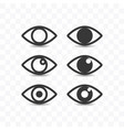 set of eye icon simple flat style vector image