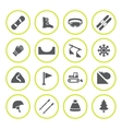 Set round icons of skiing and snowboarding vector image vector image